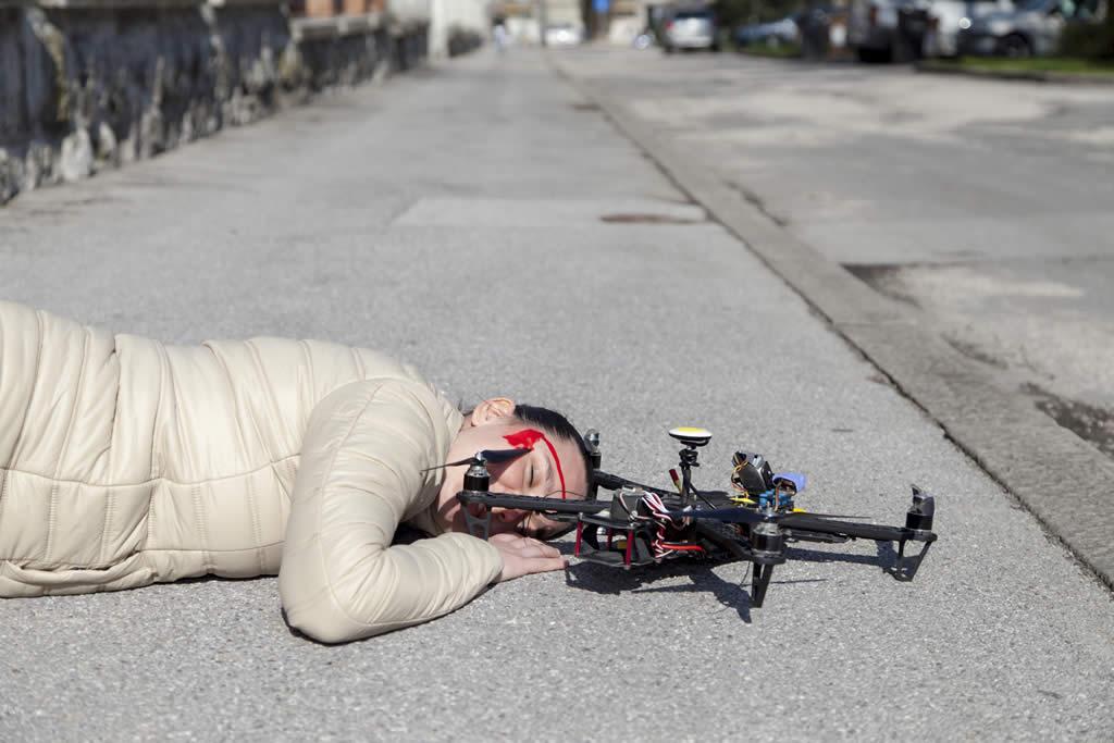 Accidente provocado por un drone
